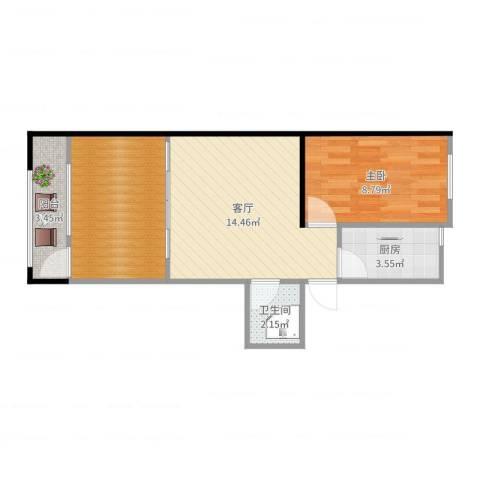 裕民东里1室1厅1卫1厨52.00㎡户型图