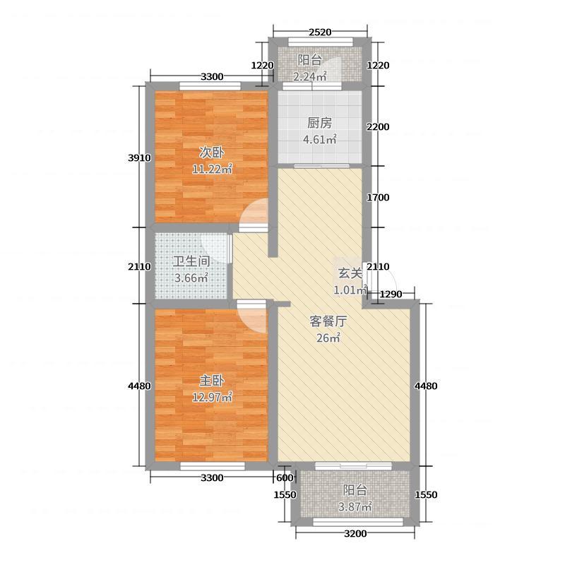 容和园90.17㎡1#-4#楼标准层A4-02户型2室2厅1卫1厨
