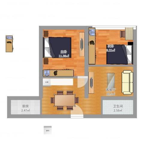 东沟三村2室2厅1卫1厨55.00㎡户型图