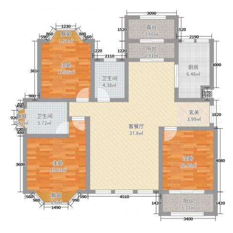 凤凰水城3室2厅2卫1厨120.00㎡户型图