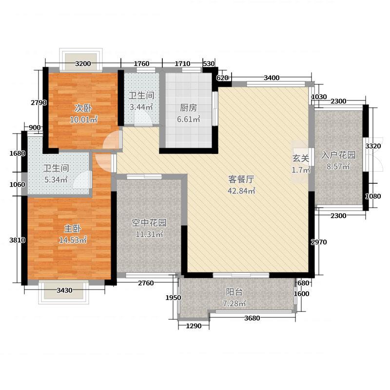 金地亚134.00㎡17栋C1户型3室3厅2卫1厨