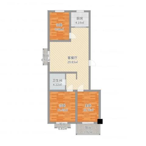 陵川信合苑3室2厅1卫1厨96.00㎡户型图