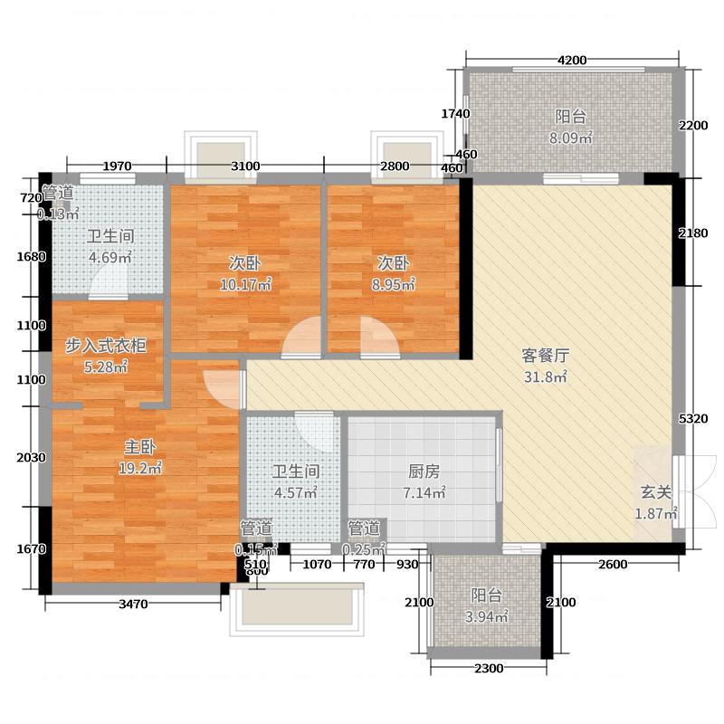 珠江愉景新城117.22㎡A4户型3室3厅2卫1厨