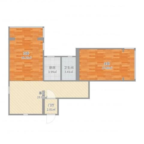管弄小区2室1厅1卫1厨81.00㎡户型图