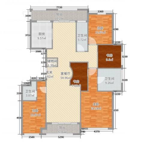 百合花园5室2厅3卫1厨233.00㎡户型图