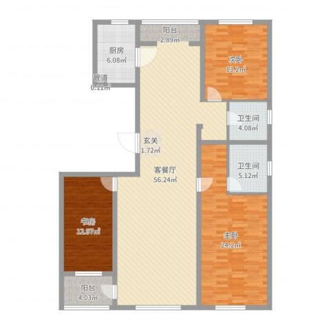 美伦堡3室2厅2卫1厨158.00㎡户型图