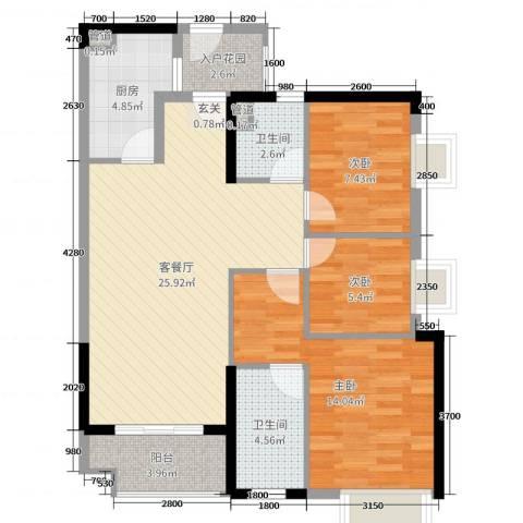 时代廊桥3室2厅2卫1厨95.00㎡户型图
