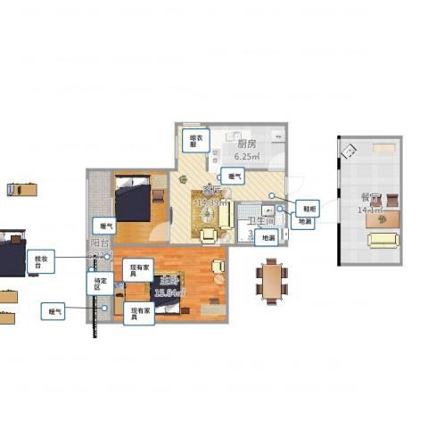 芍药居北里1室2厅1卫1厨85.00㎡户型图