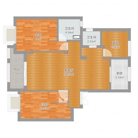 景瑞望府3室2厅2卫1厨108.00㎡户型图