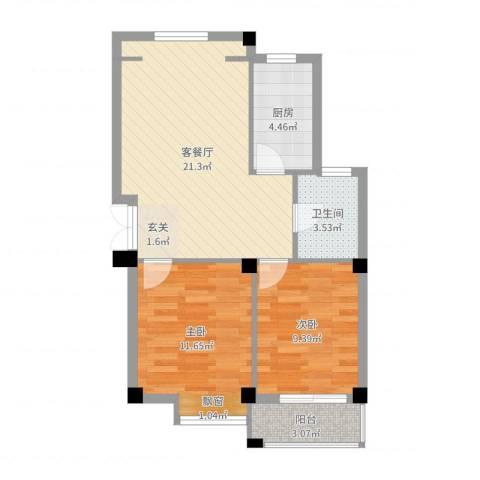 128国际公寓2室2厅1卫1厨67.00㎡户型图