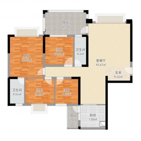 东方明珠花园商住小区4室2厅2卫1厨147.00㎡户型图