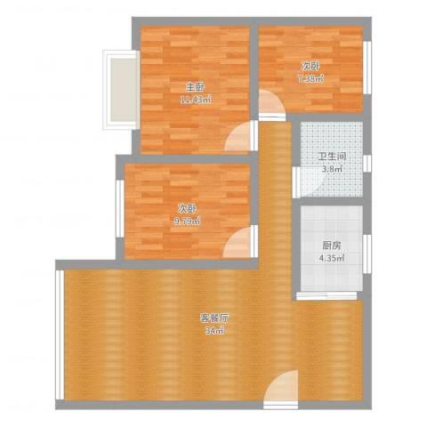 阳光新城一号3室2厅1卫1厨88.00㎡户型图