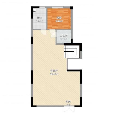 泰禾厦门院子1室2厅1卫1厨98.00㎡户型图