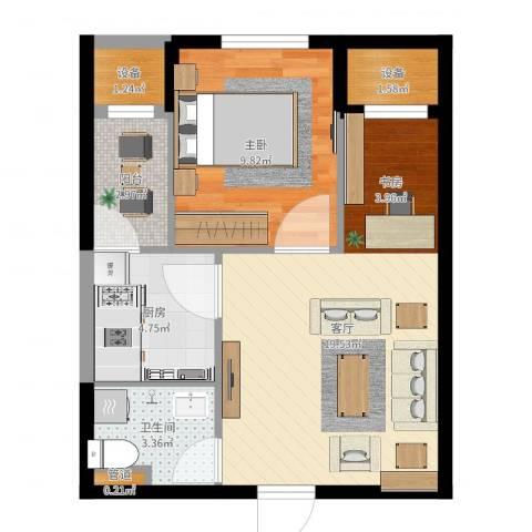 联想科技城1室1厅1卫1厨54.00㎡户型图
