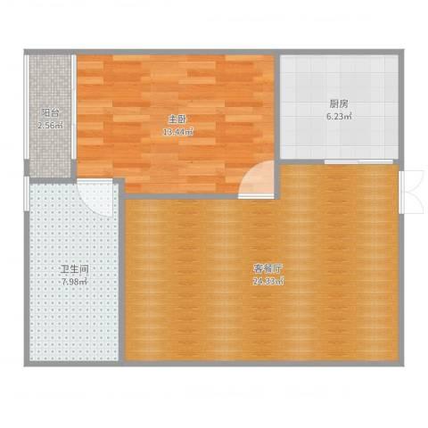 马群公寓1室2厅1卫1厨68.00㎡户型图