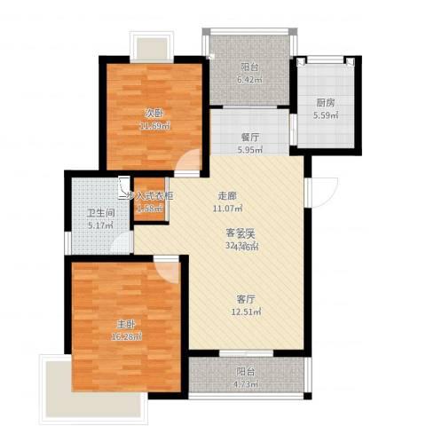 成亿宝盛家苑北块2室2厅1卫1厨105.00㎡户型图