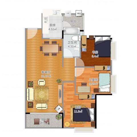 滨海花园3室2厅1卫1厨95.00㎡户型图