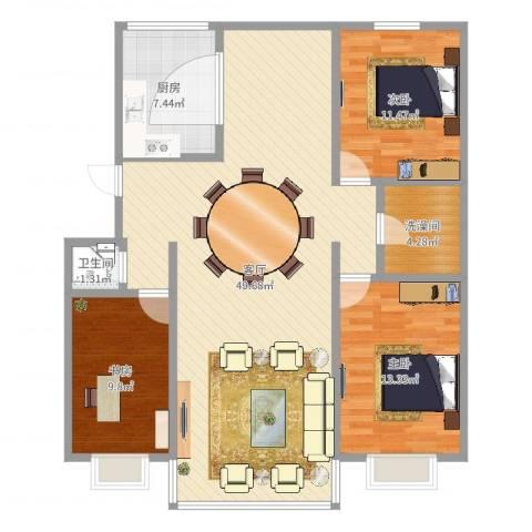 首府洋房3室1厅1卫2厨135.00㎡户型图