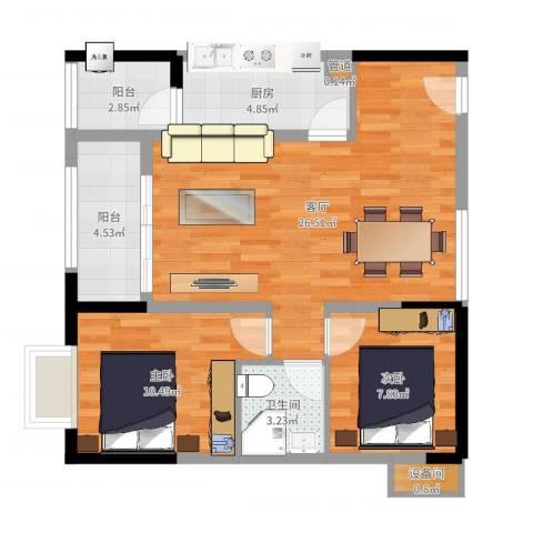 劲力五星城自由地2室1厅1卫1厨77.00㎡户型图