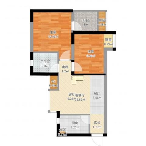 金运花园2室2厅1卫1厨58.00㎡户型图