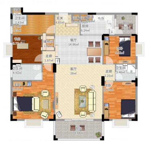 宏新富苑4室2厅3卫1厨193.00㎡户型图