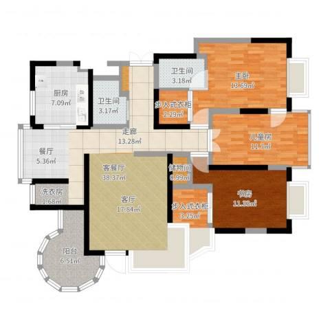 曲江兰亭3室2厅2卫1厨101.55㎡户型图