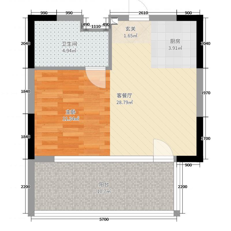 阿那亚Aranya62.00㎡安澜酒店A户型1室1厅1卫1厨