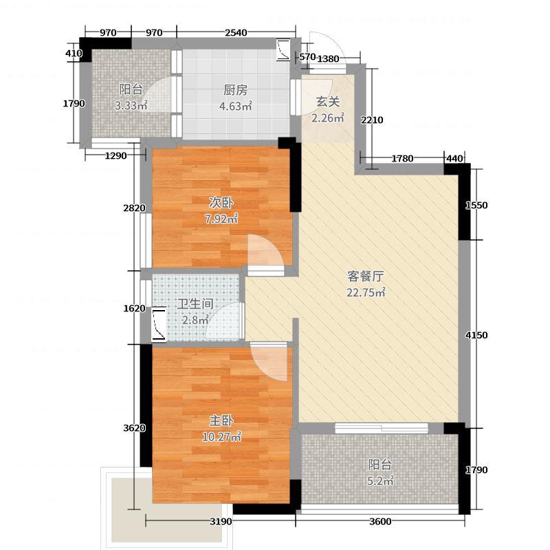 保利圆梦城71.00㎡一区73号楼C户型2室2厅1卫1厨
