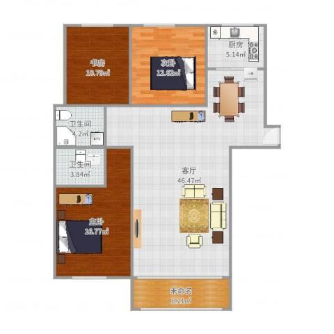 同科・汇丰国际3室1厅2卫1厨133.00㎡户型图