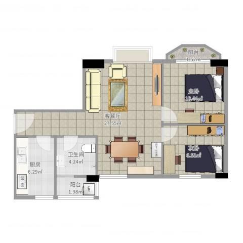 又一居2室2厅1卫1厨76.00㎡户型图
