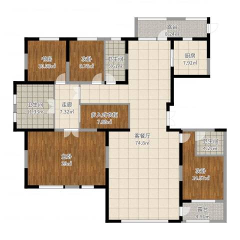 中信御园4室2厅3卫1厨246.00㎡户型图