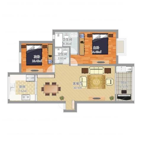天一家园六期2室2厅2卫1厨96.00㎡户型图