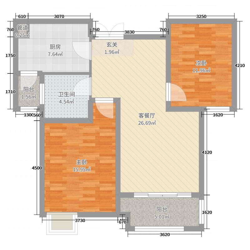 弘阳上城92.00㎡8、10、12#楼中间A2B2C2户型2室2厅1卫1厨
