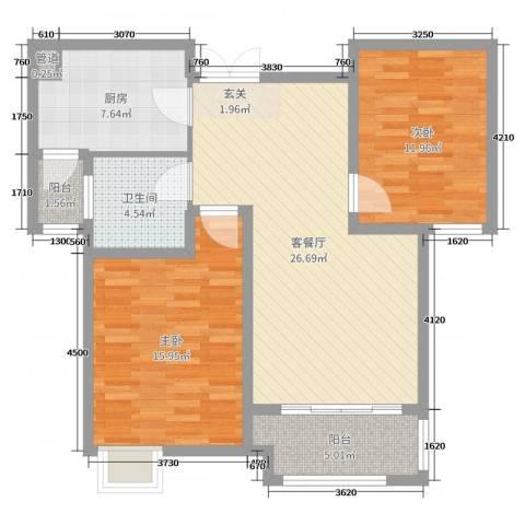 弘阳上城2室2厅1卫1厨92.00㎡户型图