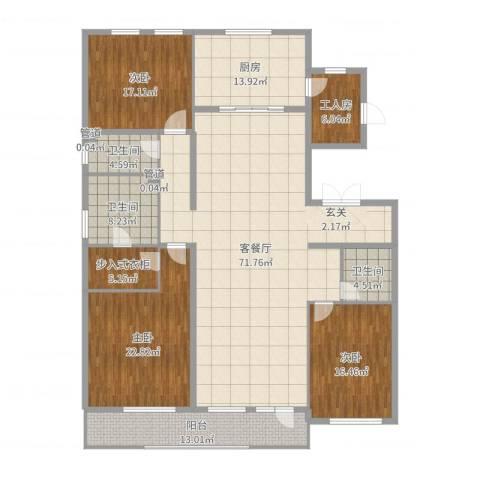 万晟清华园3室2厅3卫1厨230.00㎡户型图