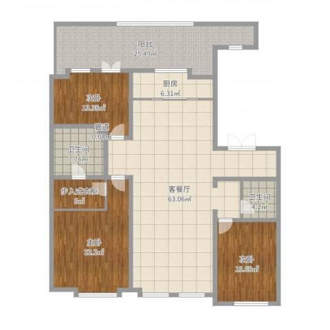 万晟清华园3室2厅2卫1厨204.00㎡户型图