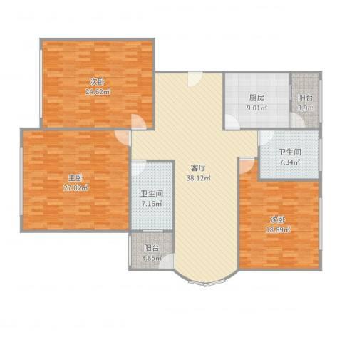 大家源新城3室1厅2卫1厨175.00㎡户型图