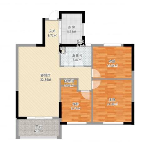 万泰时代城3室2厅1卫1厨105.00㎡户型图