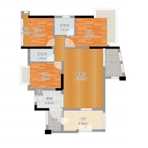 顺宝・天誉花园3室2厅2卫1厨111.00㎡户型图