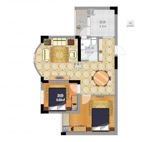 金科丽苑1室2厅3卫1厨65.00㎡户型图