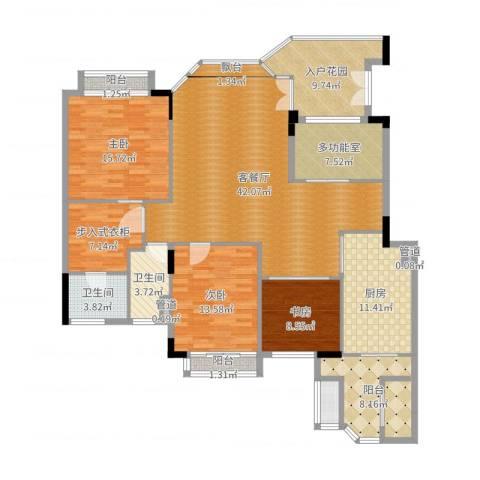 汇景新城柏菲美泉3室2厅2卫1厨171.00㎡户型图