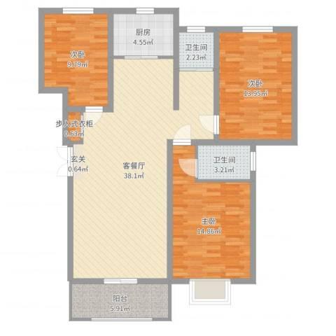 峰华都市花园3室2厅2卫1厨117.00㎡户型图