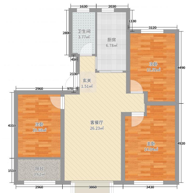 恒信华府114.00㎡2/3号楼户型3室3厅1卫1厨