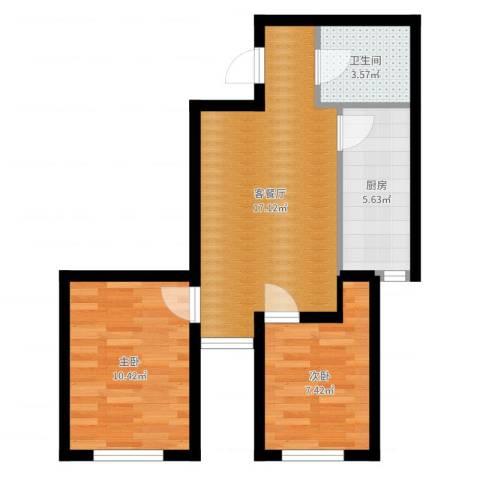 明城・新北市2室2厅1卫1厨55.00㎡户型图