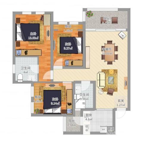 英郦庄园曼城3室2厅2卫1厨113.00㎡户型图