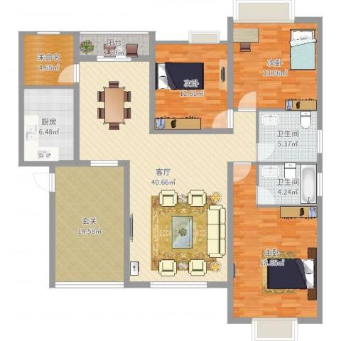 虹色景苑郭先生3室1厅2卫1厨171.00㎡户型图