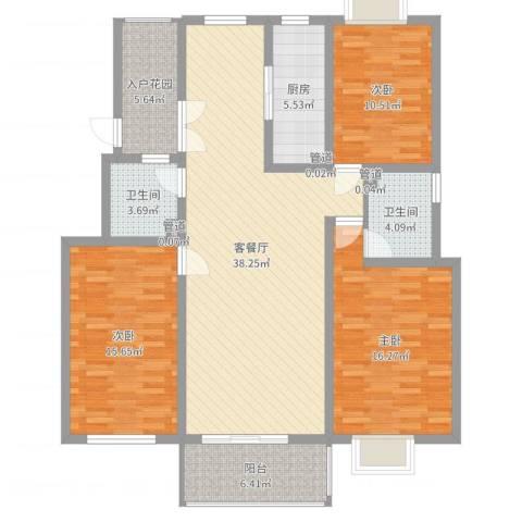 壹度恒园3室2厅2卫1厨106.17㎡户型图