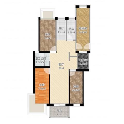 壹度恒园3室1厅1卫1厨63.96㎡户型图