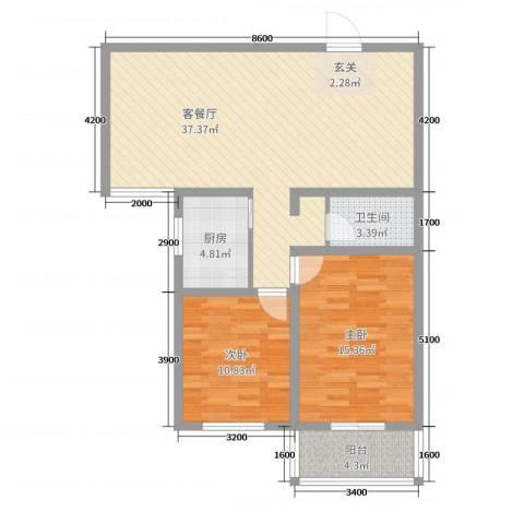 哈佛印象2室2厅1卫1厨108.00㎡户型图