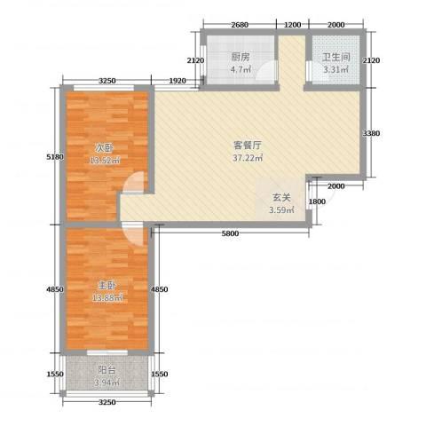 哈佛印象2室2厅1卫1厨114.00㎡户型图